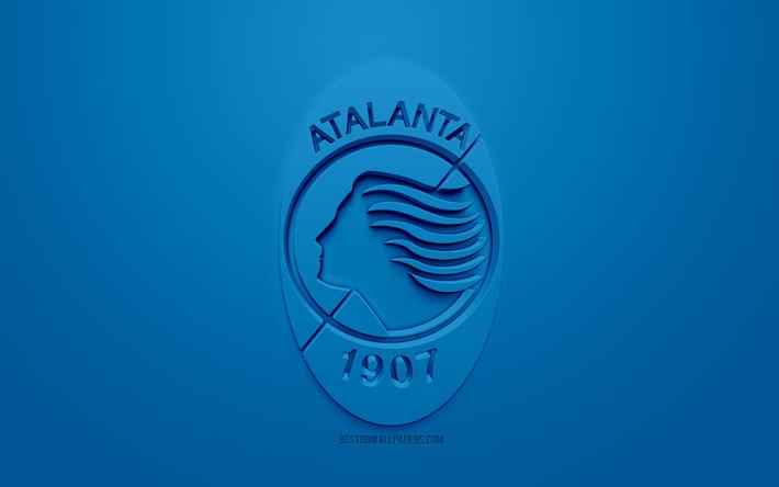 Indir Duvar Kağıdı Atalanta Yaratıcı 3d Logosu Mavi Arka Plan 3d