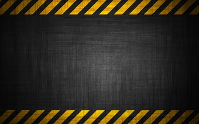 warning background, 4k, caution strips, gray background, grunge, metal plate, yellow lines, warning tapes