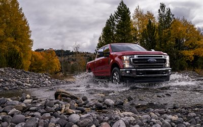 2020, Ford F-250 Super Duty, King Ranch, F-series, American pickup truck, new burgundy F-250, SUV, Ford