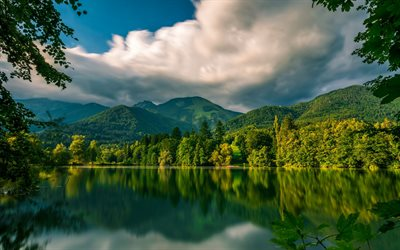 Lake Crnava, mountain lake, spring, mountain landscape, forest, Preddvor, Slovenia