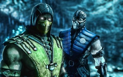 4k, Sub-Zero, Scorpion, Mortal Kombat X, ninja, fighting game, Scorpion and Sub-Zero, Mortal Kombat