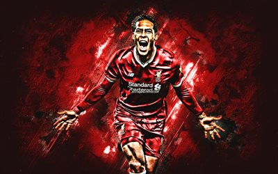 Virgil van Dijk, Liverpool FC, defender, joy, red stone, portrait, famous footballers, football, dutch footballers, grunge, Premier League, England