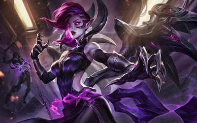 4k, Morgana, artwork, darkness, MOBA, Blade Mistress Morgana, League of Legends, Morgana 4k, League of Legends characters