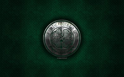 Celtic FC, Scottish football club, green metal texture, metal logo, emblem, Glasgow, Scotland, Scottish Premiership, creative art, football
