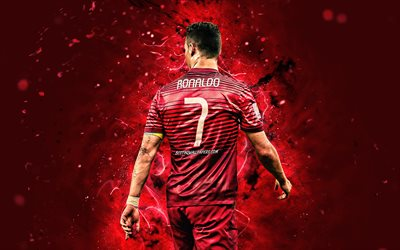 Cristiano Ronaldo, 4k, back view, Portugal National Team, soccer, CR7, neon lights, Ronaldo back view, Portuguese football team