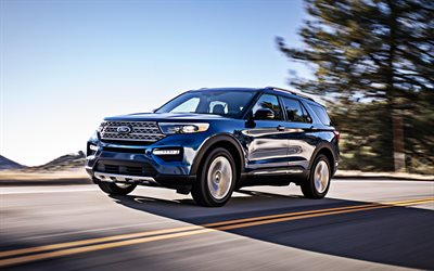 Ford Explorer, 2020, blue SUV, new blue Explorer, american cars, Ford, USA