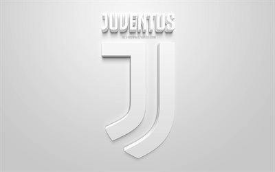 Juventus FC, creative 3D logo, white background, Juve, 3d emblem, Italian football club, Serie A, Turin, Italy, 3d art, football, stylish 3d logo