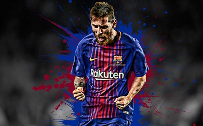 Lionel Messi, Barcelona FC, world football star, Argentine footballer, striker, creative art, La Liga, Leo Messi, Spain, football, goal, joy