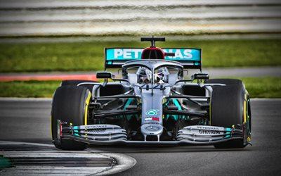 4k, Mercedes-AMG F1 W11 EQ Performance, close-up, Lewis Hamilton, 2020 F1 cars, raceway, Formula 1, Mercedes-AMG Petronas Motorsport, new W11, F1, Mercedes-AMG F1 2020, F1 cars, Lewis Hamilton on track
