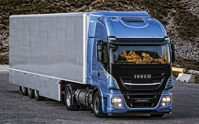 Iveco Stralis, 2020, heavy-duty truck, trucking, cargo delivery, new blue Stralis, italian trucks, Iveco