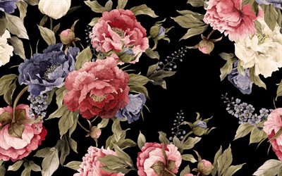 retro texture with flowers, black background with flowers, peonies texture, retro floral background