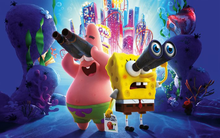 The SpongeBob Movie, Sponge on the Run, 2020, 4k, main characters, promotional materials, poster