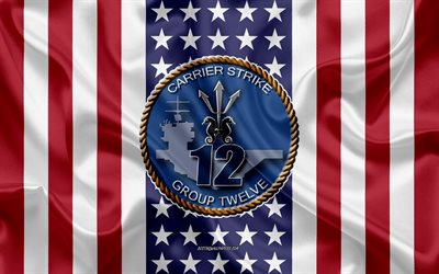 Carrier Strike Group 12 Emblem, USS Abraham Lincoln, CVN-72, American Flag, US Navy, Silk Texture, United States Navy, Silk Flag, Carrier Strike Group 12, USA