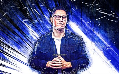 4k, DJ Mike Carbonell, grunge art, american DJs, music stars, blue abstract rays, creative, american celebrity, Mike Carbonell 4K