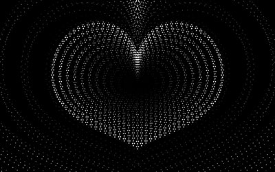 white heart, 4k, black backgrounds, minimal, love concepts, background with heart