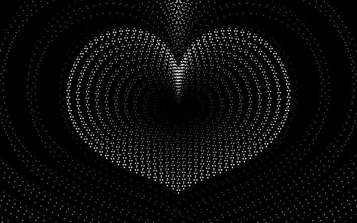 تحميل خلفيات قلب أبيض 4k خلفيات سوداء الحد الأدنى الحب