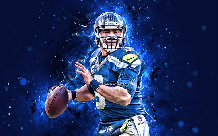 Download Wallpapers 4k Russell Wilson 2020 Seattle Seahawks American Football Nfl Russell Carrington Wilson Quarterback National Football League Neon Lights Russell Wilson Seattle Seahawks Russell Wilson 4k For Desktop Free Pictures For