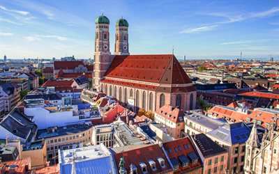 Frauenkirche, back view, Cathedral of the Archdiocese, summer, Munich, Bavaria, Germany, Europe, church, german cities