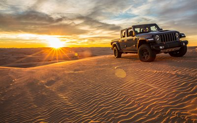 4k, Jeep Gladiator Mojave, desert, 2020 cars, offroad, Jeep Gladiator JT, SUVs, 2020 Jeep Gladiator, american cars, Jeep