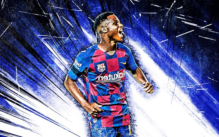 Download Wallpapers 4k Ansu Fati Grunge Art Barcelona Fc Bissau Guinean Footballers Laliga Barca Anssumane Fati Football Fcb Blue Abstract Rays Soccer La Liga Spain Ansu Fati 4k For Desktop Free Pictures For