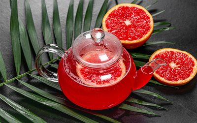 grapefruit tea, red tea, tea concepts, teapot, grapefruit, citrus tea