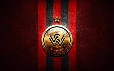 WS Wanderers FC, golden logo, A-League, red metal background, football, Western Sydney Wanderers, Australian football club, WS Wanderers logo, soccer, Australia