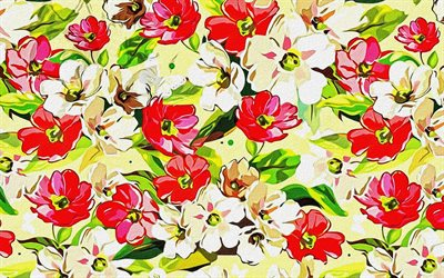 retro floral texture, retro floral background, colorful flowers texture, painted flowers texture