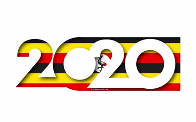 Uganda 2020, Flag of Uganda, white background, Uganda, 3d art, 2020 concepts, Uganda flag, 2020 New Year, 2020 Uganda flag