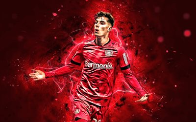 Kai Havertz, 2020, Bayer 04 Leverkusen FC, German footballers, soccer, Havertz, Bundesliga, neon lights, Kai Havertz Bayer 04 Leverkusen