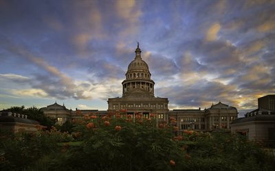 Texas State Capitol, twilight, american cities, Austin, Texas, USA, America