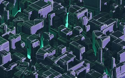 isometric buildings, 3D art, abstract citiscapes, isometric backgrounds, isometric city