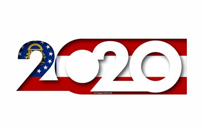 Georgia 2020, US state, Flag of Georgia, white background, Georgia, 3d art, 2020 concepts, Georgia flag, flags of american states, 2020 New Year, 2020 Georgia flag