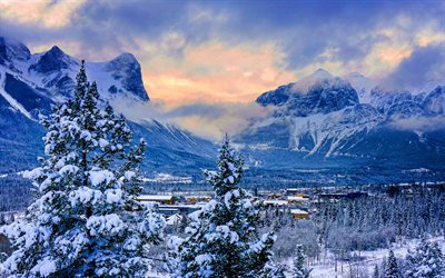 Canmore, winter, beautiful nature, Alberta, Canada, canadien cities, HDR, North America