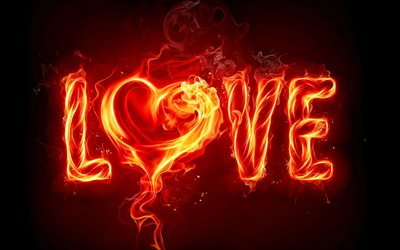 Love, fire flames, creative, love concepts, fire letters, fiery heart