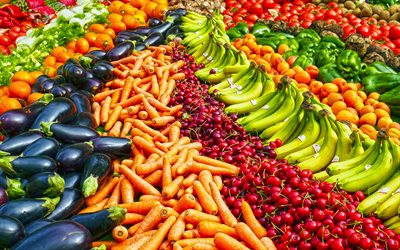fruits and vegetables, 4k, tangerines, eggplant, carrots, cherries, bananas, peppers, beets, vegetables, fruits