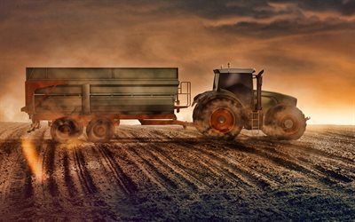 harvesting concepts, tractor with trailer, evening, sunset, tractor on the field, modern tractors, harvesting