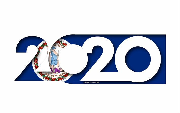 Virginia 2020, US state, Flag of Virginia, white background, Virginia, 3d art, 2020 concepts, Virginia flag, flags of american states, 2020 New Year, 2020 Virginia flag