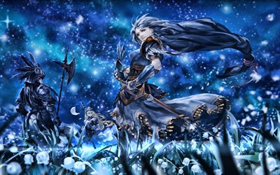 Silmeria, night, Valkyrie Profile 2 Silmeria, battle, manga, Valkyrie Profile Series