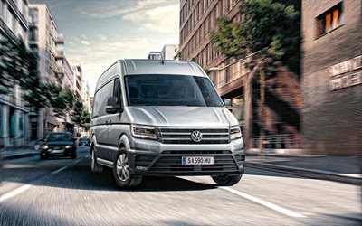 Volkswagen Crafter, 2020, front view, exterior, new silver Crafter, commercial vehicles, Volkswagen
