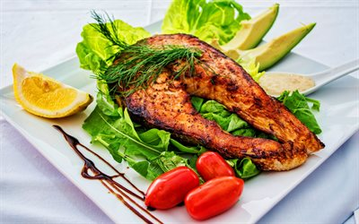 fried fish, 4K, delicious food, fish steak, fish on a plate, fish with vegetables