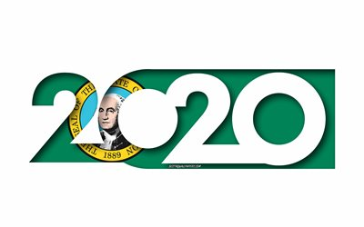 Washington 2020, de estado de EEUU, Bandera de Washington, fondo blanco, Washington, arte 3d, 2020 conceptos, Washington bandera, banderas de los estados americanos, 2020 de Año Nuevo, el año 2020 Washington bandera