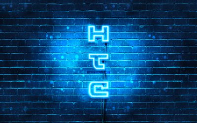 4K, HTC blue logo, vertical text, blue brickwall, HTC neon logo, creative, HTC logo, artwork, HTC