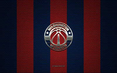 Wizards de Washington logotipo, American club de baloncesto, emblema de metal, azul-rojo de metal de malla de fondo, Wizards de Washington, de la NBA, Washington, estados UNIDOS, baloncesto