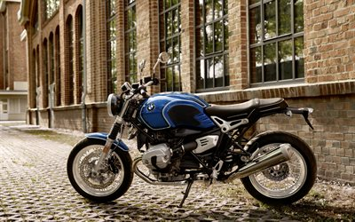 BMW R nineT, 2020, side view, new blue R nineT, german motorcycles, BMW