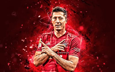 Robert Lewandowski, 2020, Bayern Munich FC, polish footballers, soccer, goal, Lewandowski, personal celebration, Bundesliga, neon lights, Germany