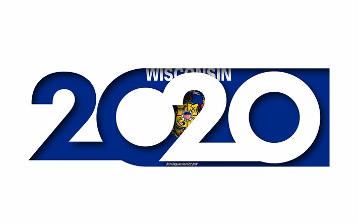 Wisconsin 2020, US state, Flag of Wisconsin, white background, Wisconsin, 3d art, 2020 concepts, Wisconsin flag, flags of american states, 2020 New Year, 2020 Wisconsin flag