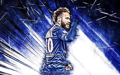4k, Neymar, grunge art, brazilian footballers, PSG, back view, Ligue 1, blue abstract rays, Neymar da Silva Santos Junior, soccer, football, Paris Saint-Germain, Neymar JR