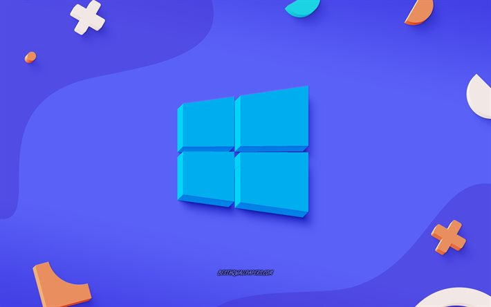 Windows 10 3D logo azul, azul de fondo creativo, Windows 10, arte 3d, con el emblema de Windows