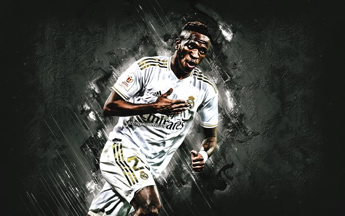 Vinicius Junior, Real Madrid, portrait, Brazilian soccer player, midfielder, gray stone background, La Liga, Spain