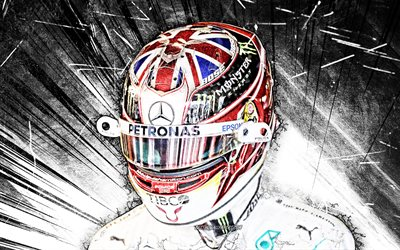 4k, Lewis Hamilton, grunge art, Mercedes-AMG Petronas Motorsport, british racing drivers, Formula 1, black abstract rays, F1 2020, Lewis Carl Davidson Hamilton, F1